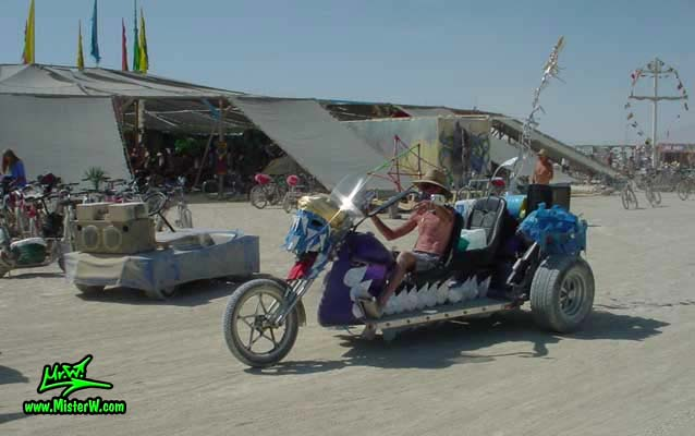 Photo of a Art Trike / Mutant Vehicle in Black Rock City, Nevada, 2002. Mutant Art Trike