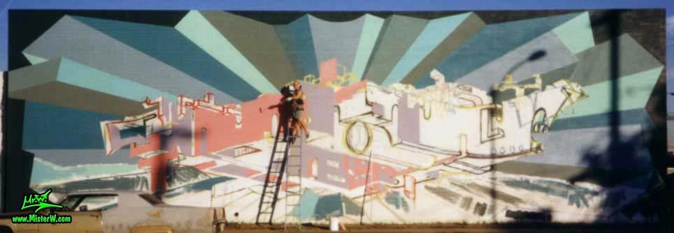 "Photo of artist & muralist Werner ""Mr.W"" Skolimowski painting a graffiti mural in Phoenix, Arizona in 1999. Werner ""Mr.W"" Skolimowski Painting A Graffiti Mural In Phoenix, Arizona"
