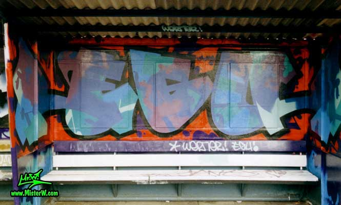 "Photo of a E.G.U. graffiti art painting by Werner ""Mr.W"" Skolimowski at the train station in Hamburg-Langenfelde, Germany, 1988. E.G.U. Graffiti In Hamburg, Germany"