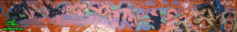 "Photo of a old school graffiti painting from 1988 at Hamburg's first legal graffiti hall of fame by Werner ""Mr.W"" Skolimowski. Old School MisterW Graffiti in Hamburg"