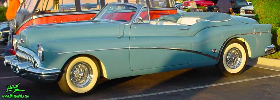 Photo of a blue 1953 Buick Convertible at the Scottsdale Pavilions Classic Car Show in Arizona. Blue 1953 Buick Convertible