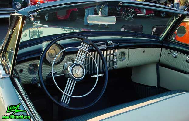 Photo of a blue 1953 Buick Convertible at the Scottsdale Pavilions Classic Car Show in Arizona. 1953 Buick Convertible Dash Board