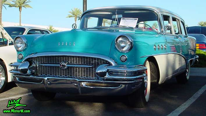 Photo of a turquoise 1955 Buick Stationwagon at the Scottsdale Pavilions Classic Car Show in Arizona. 1955 Buick Stationwagon