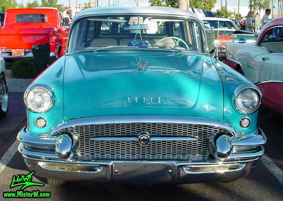 Photo of a turquoise 1955 Buick Stationwagon at the Scottsdale Pavilions Classic Car Show in Arizona. Turquoise 1955 Buick Stationwagon