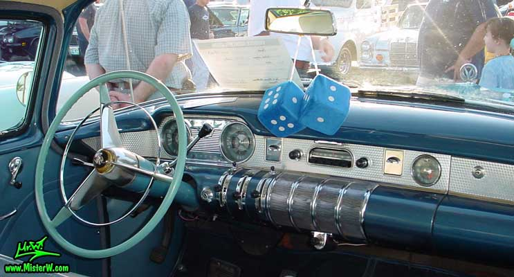 Photo of a turquoise 1955 Buick Stationwagon at the Scottsdale Pavilions Classic Car Show in Arizona. 1955 Buick Stationwagon Dashboard