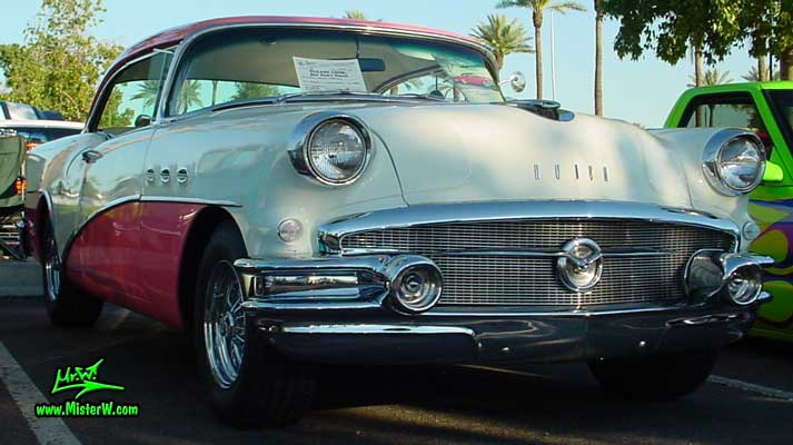 Photo of a white & pink 1956 Buick 2 Door Hardtop Coupe at the Scottsdale Pavilions Classic Car Show in Arizona. 1956 Buick 2 Door Hardtop