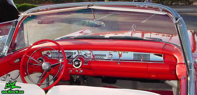 Photo of a white & red 1957 Buick Roadmaster Convertible at the Scottsdale Pavilions Classic Car Show in Arizona. 1957 Buick Dashboard