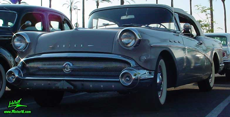 Photo of a grey 1957 Buick Convertible at the Scottsdale Pavilions Classic Car Show in Arizona. Grey 1957 Buick Roadmaster Convertible