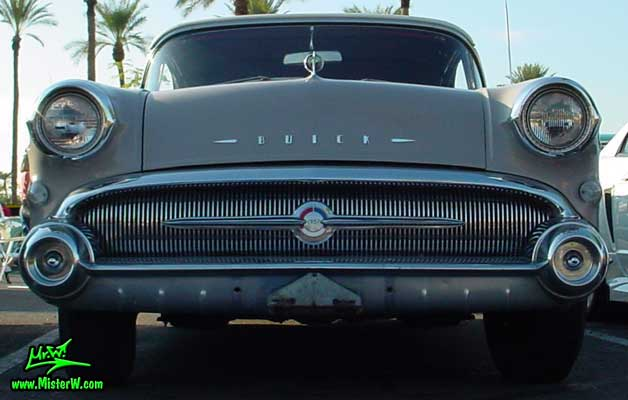 Photo of a grey 1957 Buick Convertible at the Scottsdale Pavilions Classic Car Show in Arizona. Grey 1957 Buick