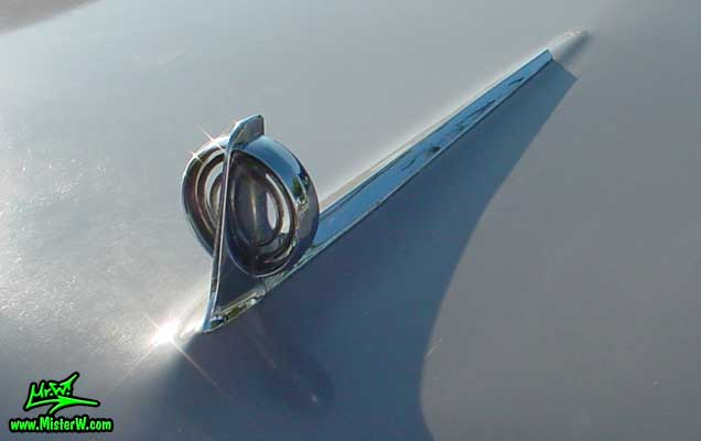 Photo of a grey 1957 Buick Convertible at the Scottsdale Pavilions Classic Car Show in Arizona. 1957 Buick Chrome Hood Ornament