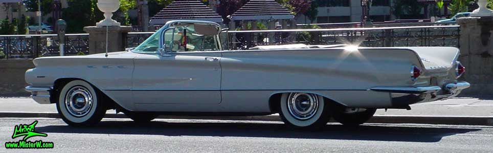 Photo of a white 1960 Buick Invicta Convertible in Reno, Nevada. 1960 Buick Fins