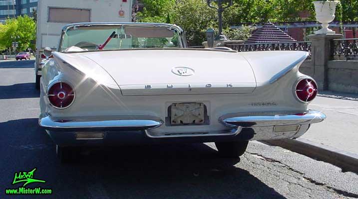 Photo of a white 1960 Buick Invicta Convertible in Reno, Nevada. 1960 Buick Rear Fins