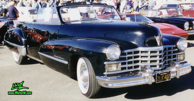 Photo of a black 1947 Cadillac Series 62 Convertible at a classic car auction in Scottsdale, Arizona. Black 1947 Cadillac Convertible