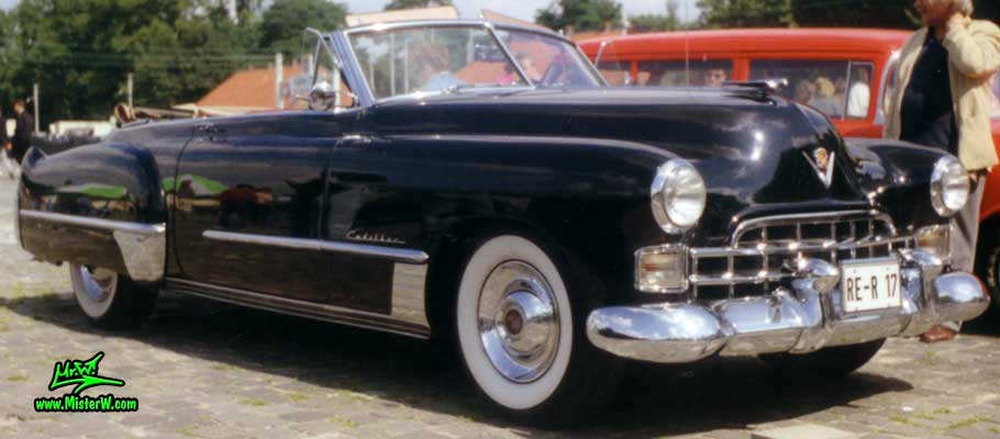 Photo of a black 1948 Cadillac Series 62 Convertible at a classic car meeting in Germany. 1948 Cadillac Convertible