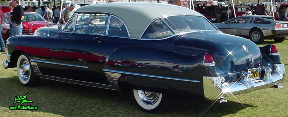 Photo of a midnight blue 1949 Cadillac Series 62 Coupe De Ville 2 door hardtop at a classic car auction in Scottsdale, Arizona. Blue 1949 Cadillac coupe with tons of chrome