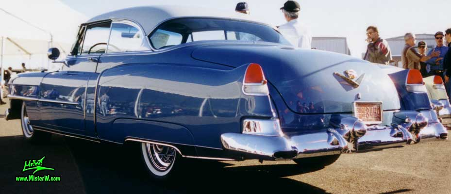 Photo of a blue 1953 Cadillac Series 62 Coupe 2 Door Hardtop at a classic car auction in Scottsdale, Arizona. blue 1953 Cadillac Coupe