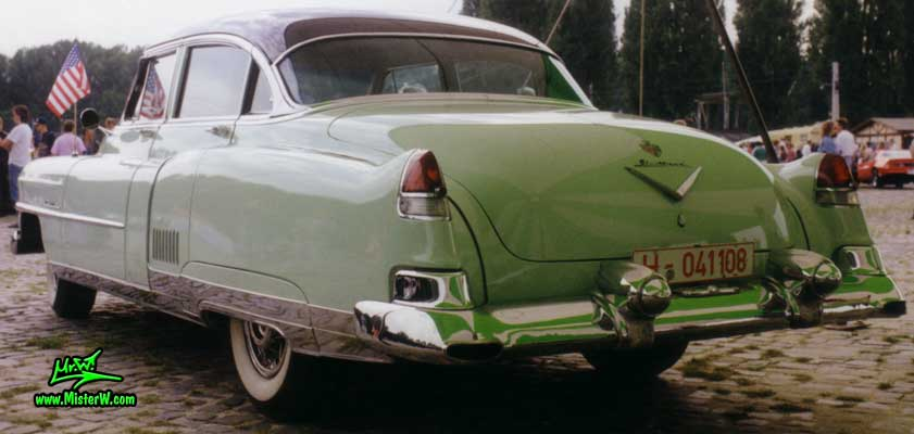 Photo of a jade 1953 Cadillac Fleetwood Series Sixty Special Sedan 4 Door Hardtop at a classic car meeting in Germany. Caddy Fleetwood Tail Fins