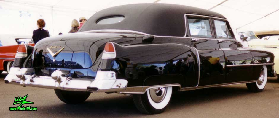 Photo of a black 1953 Cadillac Fleetwood Series Seventy Five Limousine at a classic car auction in Scottsdale, Arizona. 1953 Caddy Limo