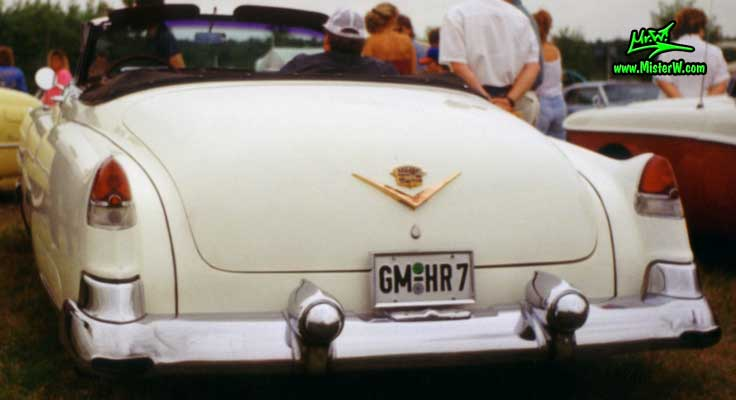 Photo of a white 1953 Cadillac Series 62 Convertible at a classic car meeting in Germany. 1953 Cadillac Convertible