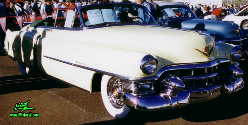 Photo of a white 1953 Cadillac Series 62 Convertible at a classic car auction in Scottsdale, Arizona. 1953 Cadillac Convertible Frontview