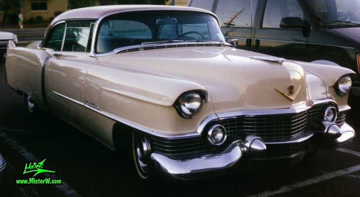 Photo of a cream colored 1954 Cadillac Series 62 Coupe 2 Door Hardtop in Scottsdale, Arizona. 1954 Cadillac Coupe