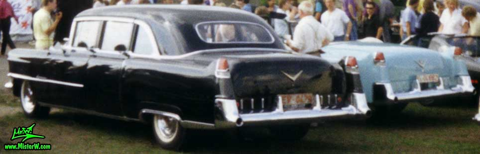 Photo of a black 1955 Cadillac Fleetwood Series 75 Limousine at a classic car meeting in Köln Chorweiler (Cologne), Germany. Extra Long 1955 Caddy Fleetwood