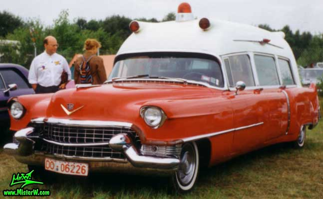 Photo of a red 1955 Cadillac Series 86 Commercial Chassis Ambulance at a classic car meeting in Germany. 1955 Cadillac Ambulance