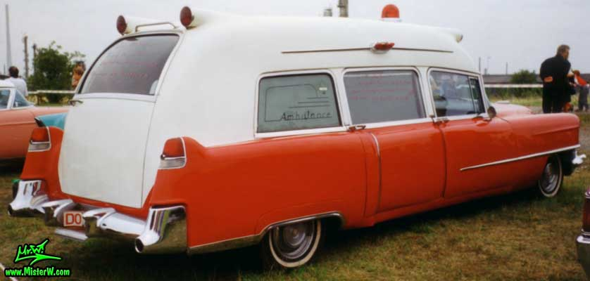 Photo of a red 1955 Cadillac Series 86 Commercial Chassis Ambulance at a classic car meeting in Germany. 1955 Caddy Ambulance