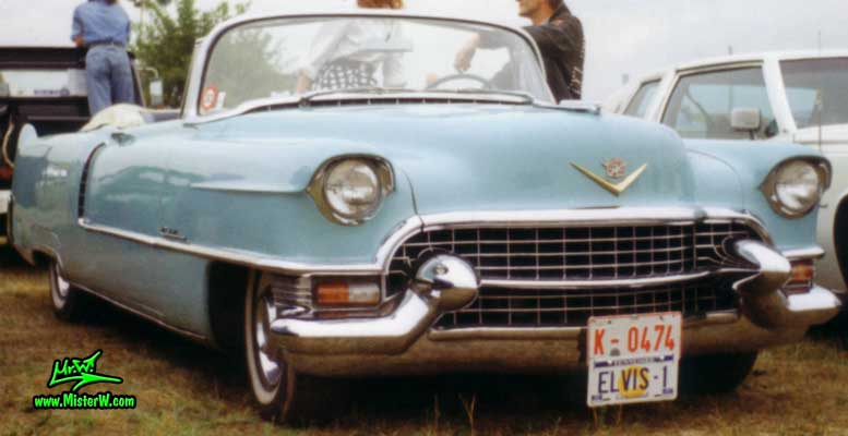 Photo of a turquoise 1955 Cadillac Series 62 Convertible at a classic car meeting in Köln Chorweiler (Cologne), Germany. 1955 Cadillac Elvis Convertible