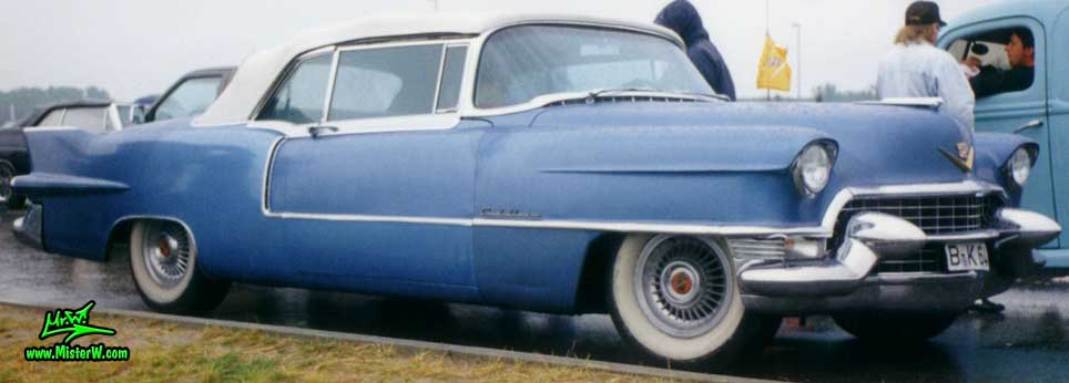 Photo of a blue 1955 Cadillac Eldorado Convertible at the Wheels Nationals classic car meeting in Berlin, Germany. 55 Caddy Eldorado