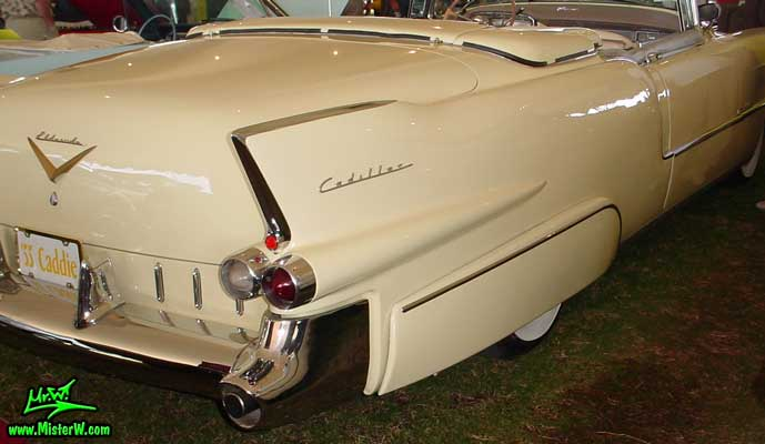 Photo of a white 1955 Cadillac Eldorado Convertible at a classic car auction in Scottsdale, Arizona. 55 Caddy Eldorado Tail Fin