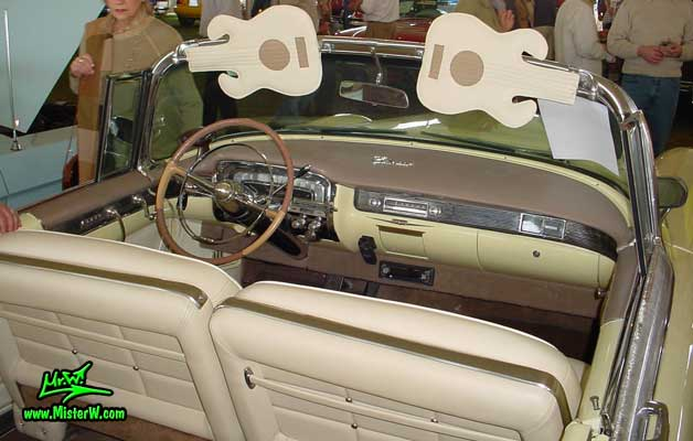 Photo of a white 1955 Cadillac Eldorado Convertible at a classic car auction in Scottsdale, Arizona. 1955 Cadillac Eldorado Interior & Dashboard