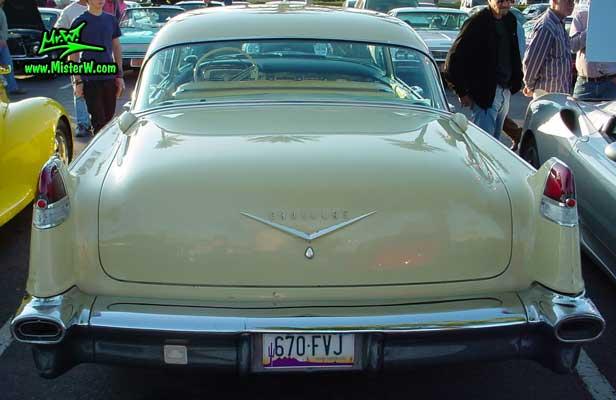 Photo of a jade 1956 Cadillac Sedan 4 Door Hardtop at the Scottsdale Pavilions Classic Car Show in Arizona. 1956 Cadillac Rearview