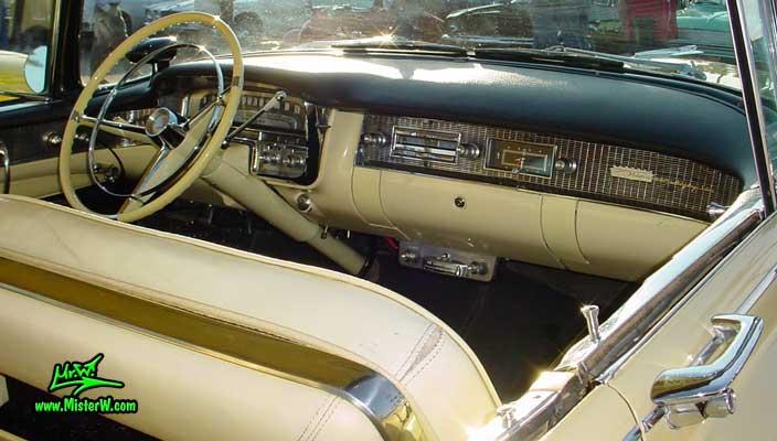 Photo of a jade 1956 Cadillac Sedan 4 Door Hardtop at the Scottsdale Pavilions Classic Car Show in Arizona. 1956 Cadillac Dash