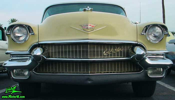 Chrome grill of a 1956 Caddy