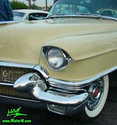 Photo of a jade 1956 Cadillac Sedan 4 Door Hardtop at the Scottsdale Pavilions Classic Car Show in Arizona. 1956 Cadillac Bumper & Headlight
