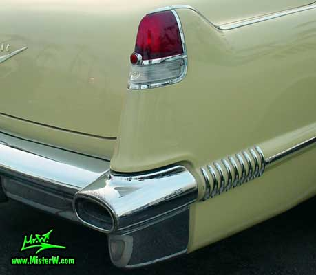 Photo of a jade 1956 Cadillac Sedan 4 Door Hardtop at the Scottsdale Pavilions Classic Car Show in Arizona. 1956 Cadillac Tail Fin