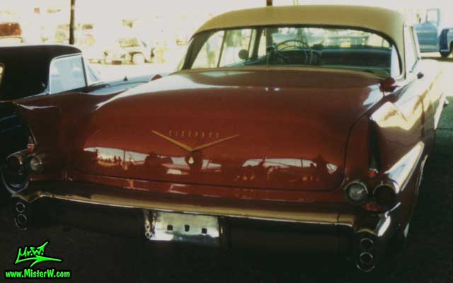 Photo of a red 1956 Cadillac Eldorado SeVille Coupe 2 Door Hardtop at a Classic Car auction in Scottsdale, Arizona. 56 Caddy Seville