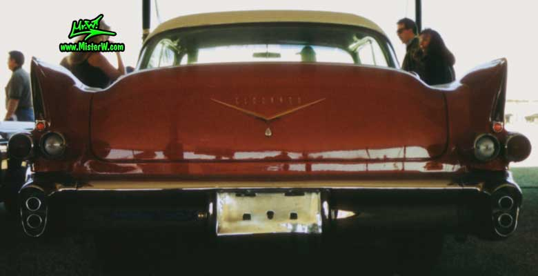 Photo of a red 1956 Cadillac Eldorado SeVille Coupe 2 Door Hardtop at a Classic Car auction in Scottsdale, Arizona. 1956 Cadillac Eldorado SeVille Tail Fins
