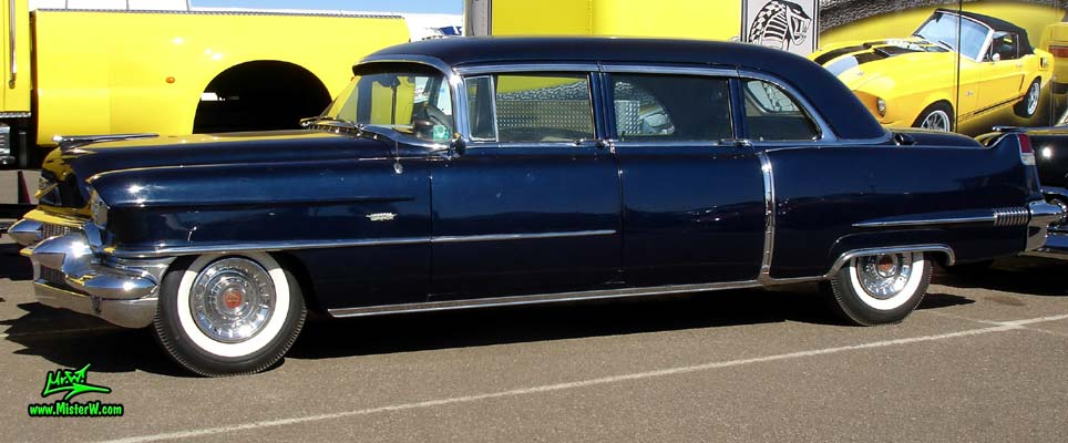 Photo of a dark blue 1956 Cadillac Fleetwood Series 75 Limousine at a Classic Car auction in Scottsdale, Arizona. Sideview of 56 Cadillac Fleetwood Series Seventy-Five Limo