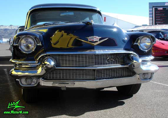 Photo of a dark blue 1956 Cadillac Fleetwood Series 75 Limousine at a Classic Car auction in Scottsdale, Arizona. 56 Cadillac Fleetwood Series 75 Limo Front Grill