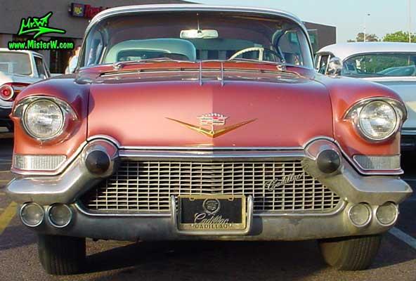 Photo of a pink 1957 Cadillac Coupe 2 Door Hardtop at a classic car meeting in Phoenix, Arizona. 1957 Cadillac Coupe in Phoenix, Arizona