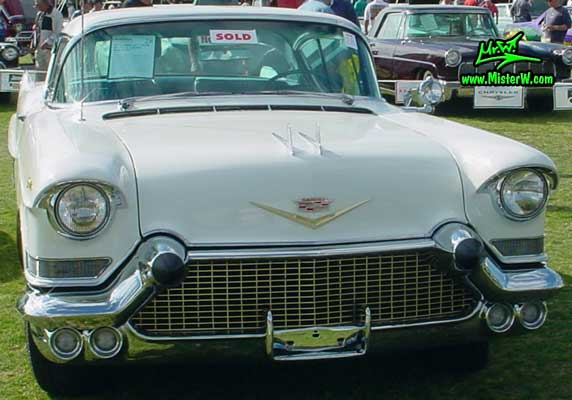 Photo of a white 1957 Cadillac Coupe 2 Door Hardtop at a classic car auction in Scottsdale, Arizona. White 1957 Cadillac Coupe