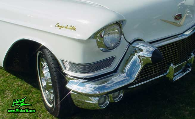 Photo of a white 1957 Cadillac Coupe 2 Door Hardtop at a classic car auction in Scottsdale, Arizona. 1957 Cadillac Coupe DeVille