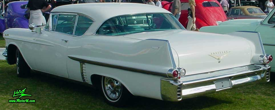 Photo of a white 1957 Cadillac Coupe 2 Door Hardtop at a classic car auction in Scottsdale, Arizona. White 57 Caddy