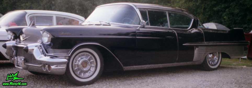 Photo of a black 1957 Cadillac Fleetwood Series Sixty Special 4 Door Hardtop Sedan at a classic car meeting in Germany. 1957 Cadillac Fleetwood Series Sixty Special Sedan