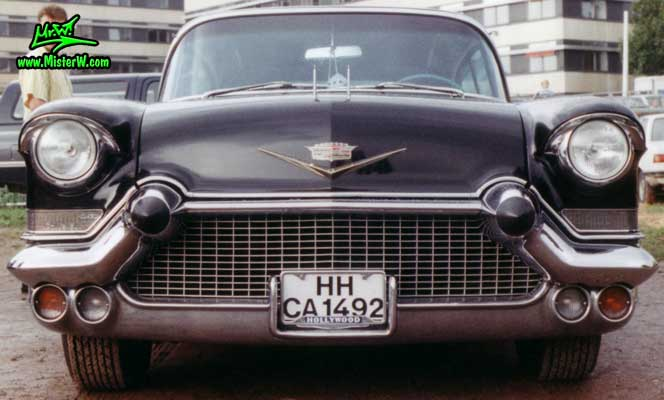 Photo of a black 1957 Cadillac Fleetwood Series Sixty Special 4 Door Hardtop Sedan at a classic car meeting in Germany. Black 1957 Caddy
