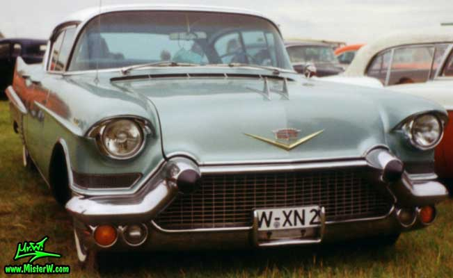 Photo of a turquoise 1957 Cadillac Fleetwood Series Sixty Special 4 Door Hardtop Sedan at a classic car meeting in Germany. 1957 Cadillac Fleetwood Sixty Special in Germany