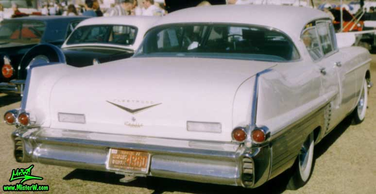 Photo of a white 1957 Cadillac Fleetwood Series Sixty Special 4 Door Hardtop Sedan at a classic car auction in Scottsdale, Arizona. White 1957 Cadillac Fleetwood Sixty Special