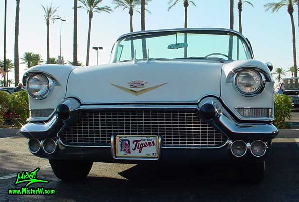 Photo of a white 1957 Cadillac Series 62 Convertible at the Scottsdale Pavilions Classic Car Show in Arizona. White 1957 Cadillac Convertible